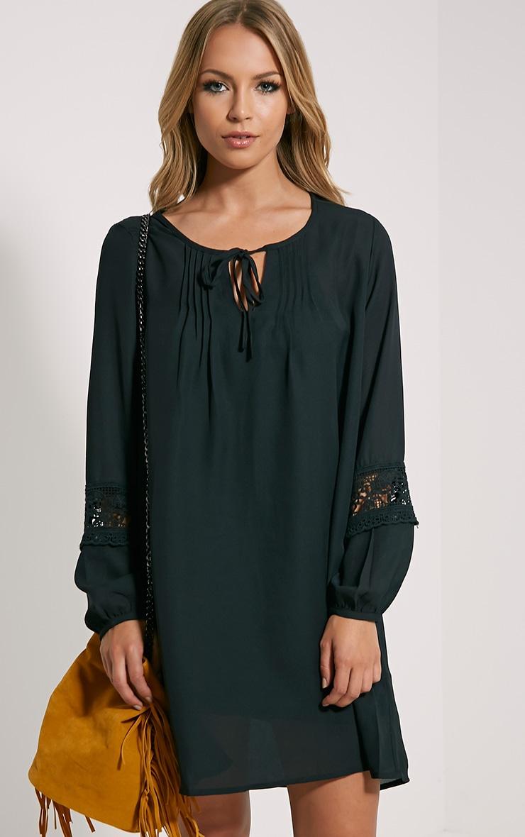 Maia Black Crochet Detail Dress 1