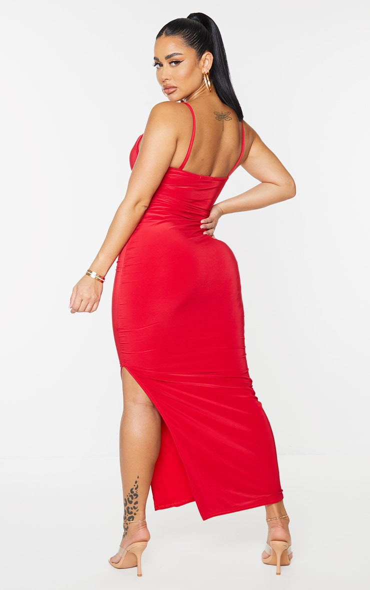 Shape Red Slinky Cowl Neck Midaxi Dress 2