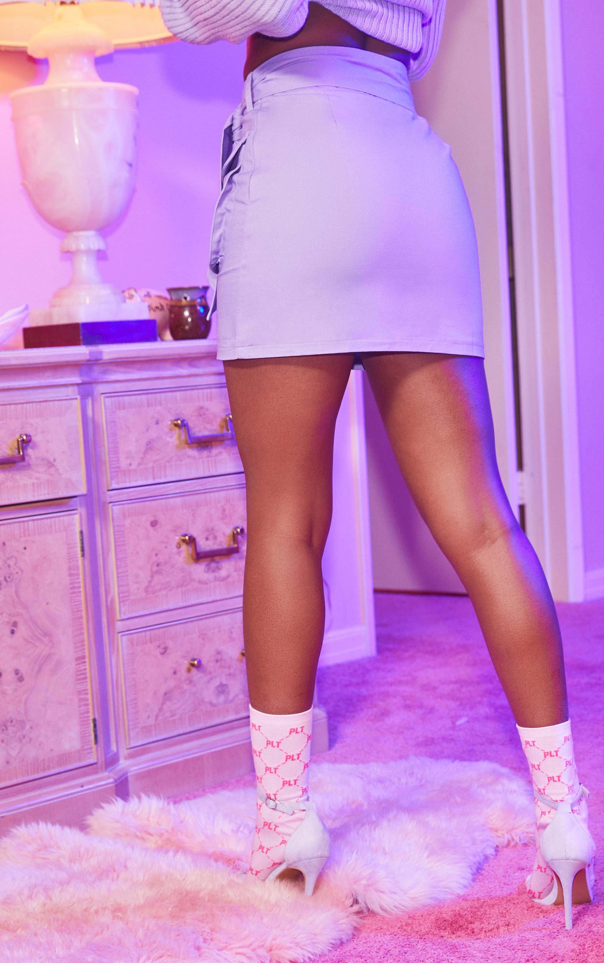 Lilac Utility Tie Waist Mini Skirt 4