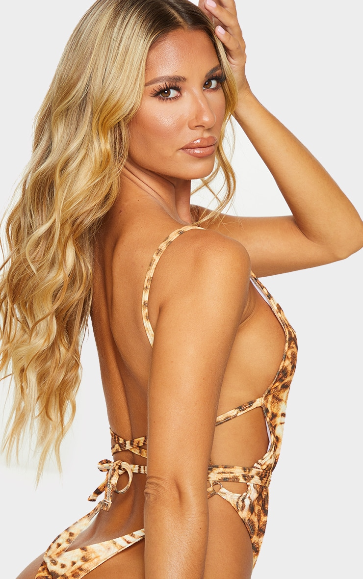 Leopard Ribbed Open Back Swimsuit 4