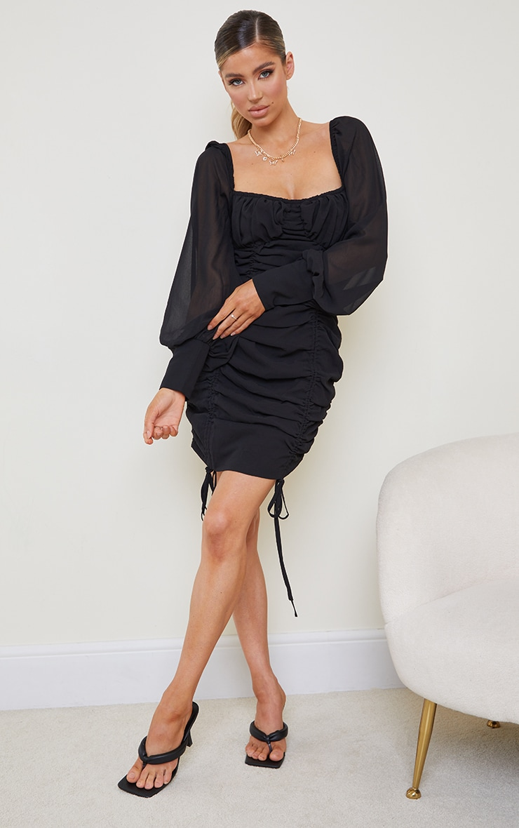 Black Chiffon Long Sleeve Ruched Skirt Bodycon Dress 3
