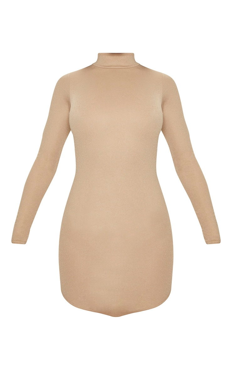 Taupe High Neck Extreme Scoop Back Pointy Hem Bodycon Dress 3
