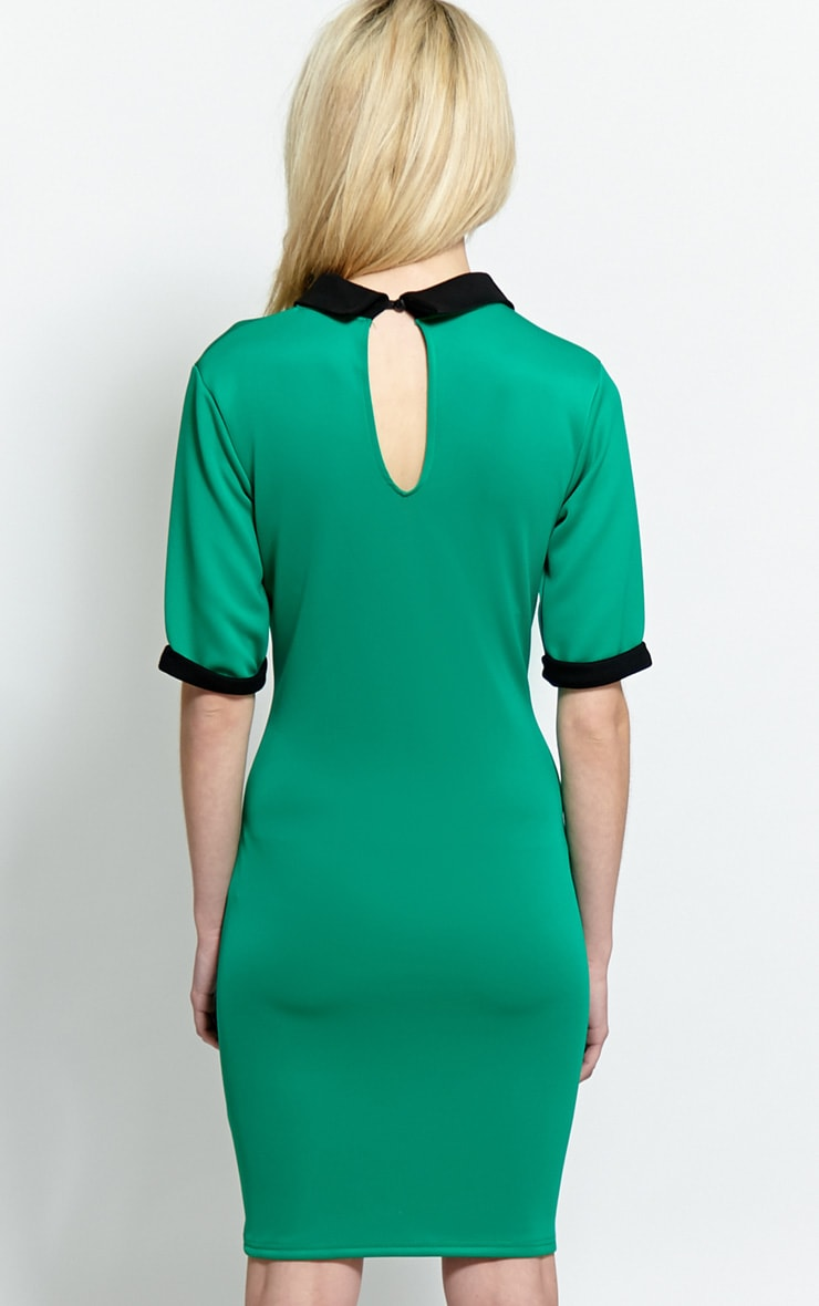 Katrina Green Dress With Black Collar 2