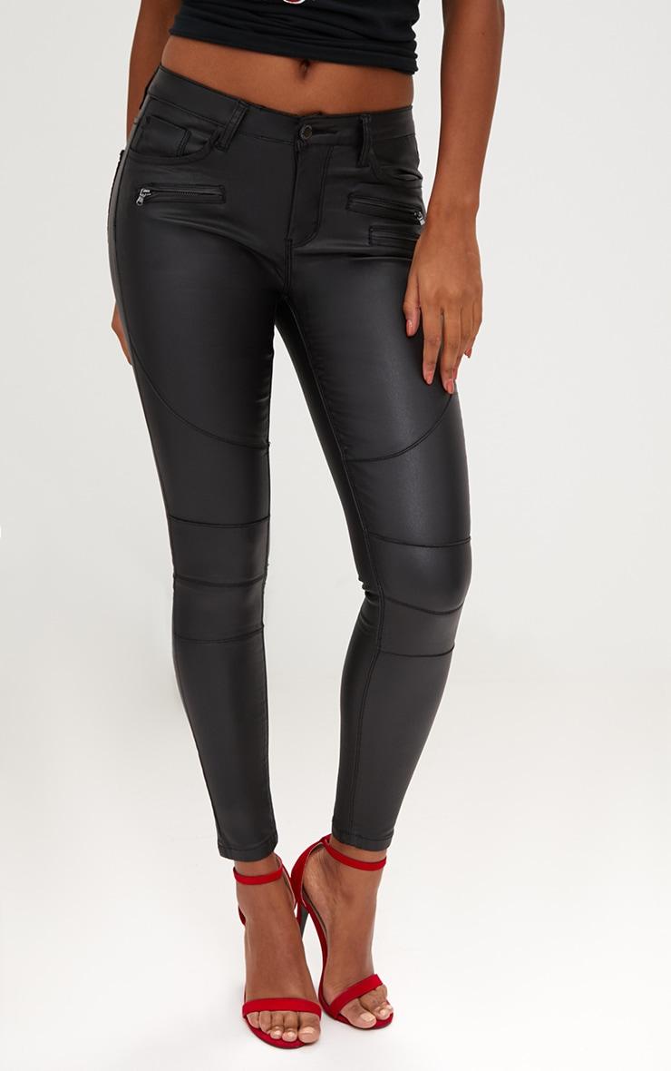 Black Coated Denim Biker Jean 2