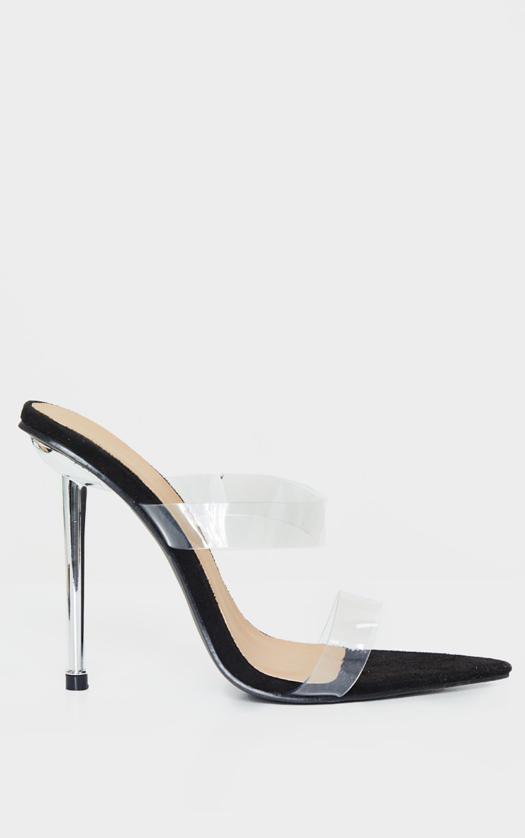 Clear Twin Strap Metal Heel Mule 4