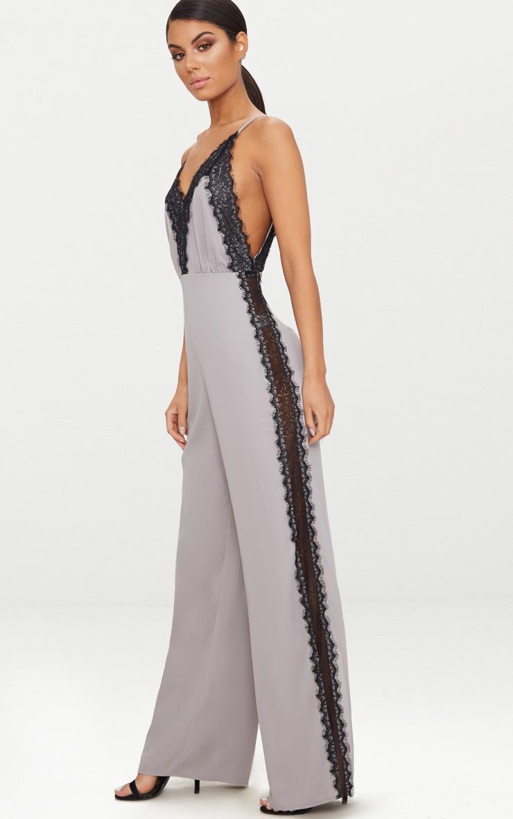 Grey Contrast Lace Trim Jumpsuit 4