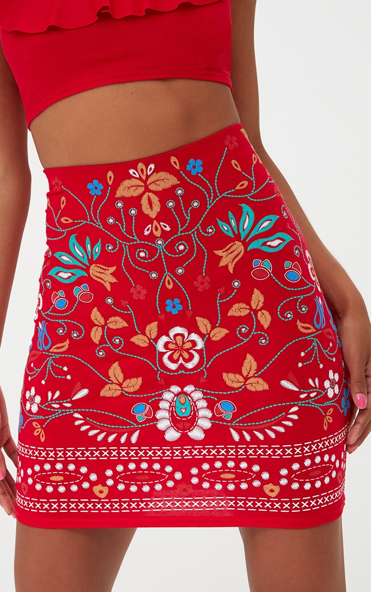 Petite Red Embroidery Print Mini Skirt 5