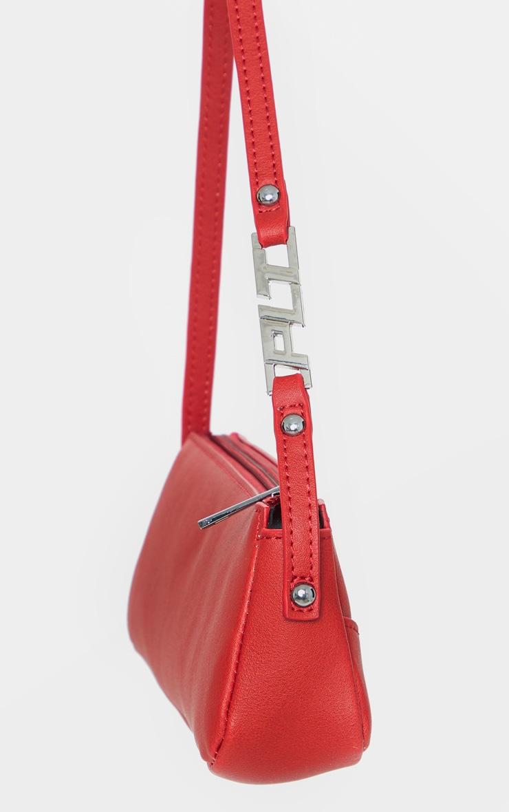 Red PrettyLittleThing Handle PU Baguette Shoulder Bag 3
