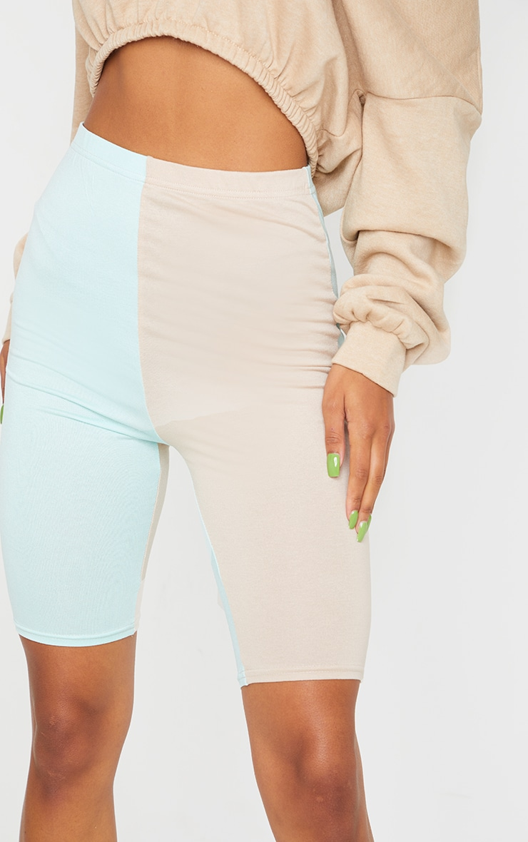 Sage Green Contrast Leg Cycle Shorts 5