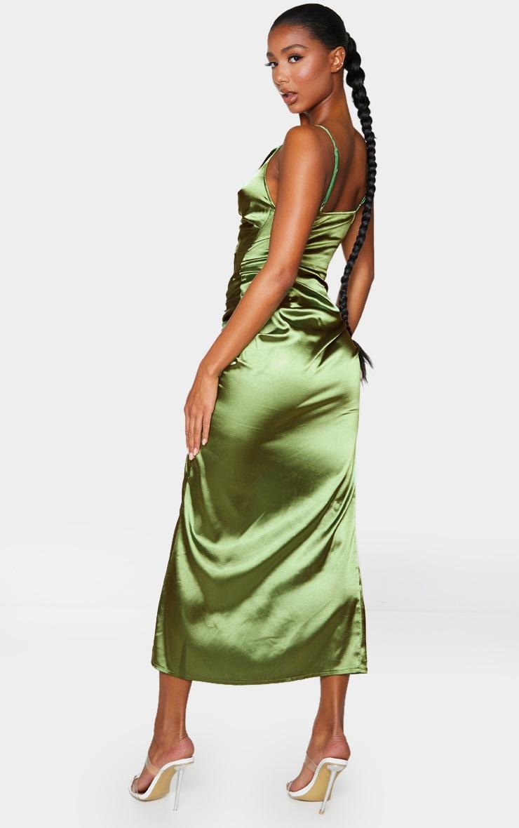 Olive Satin Twist Bust Ruched Maxi Dress 2