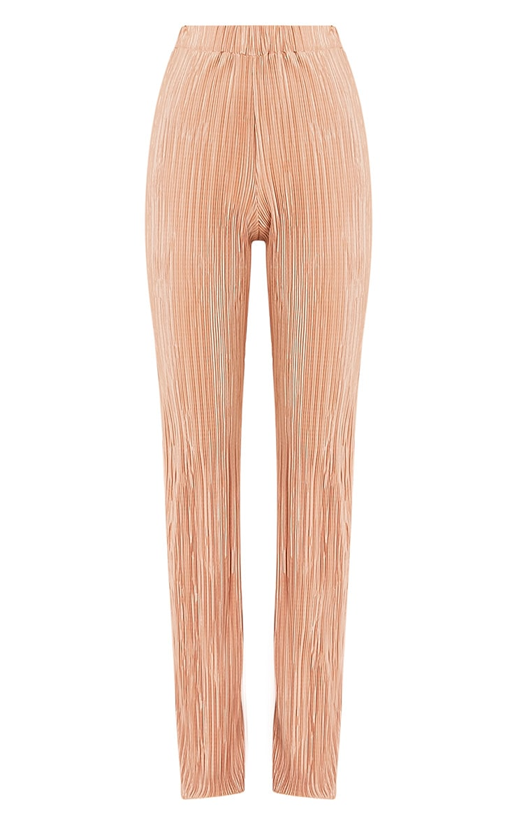 Follie Champagne Pleated High Waisted Trousers 3