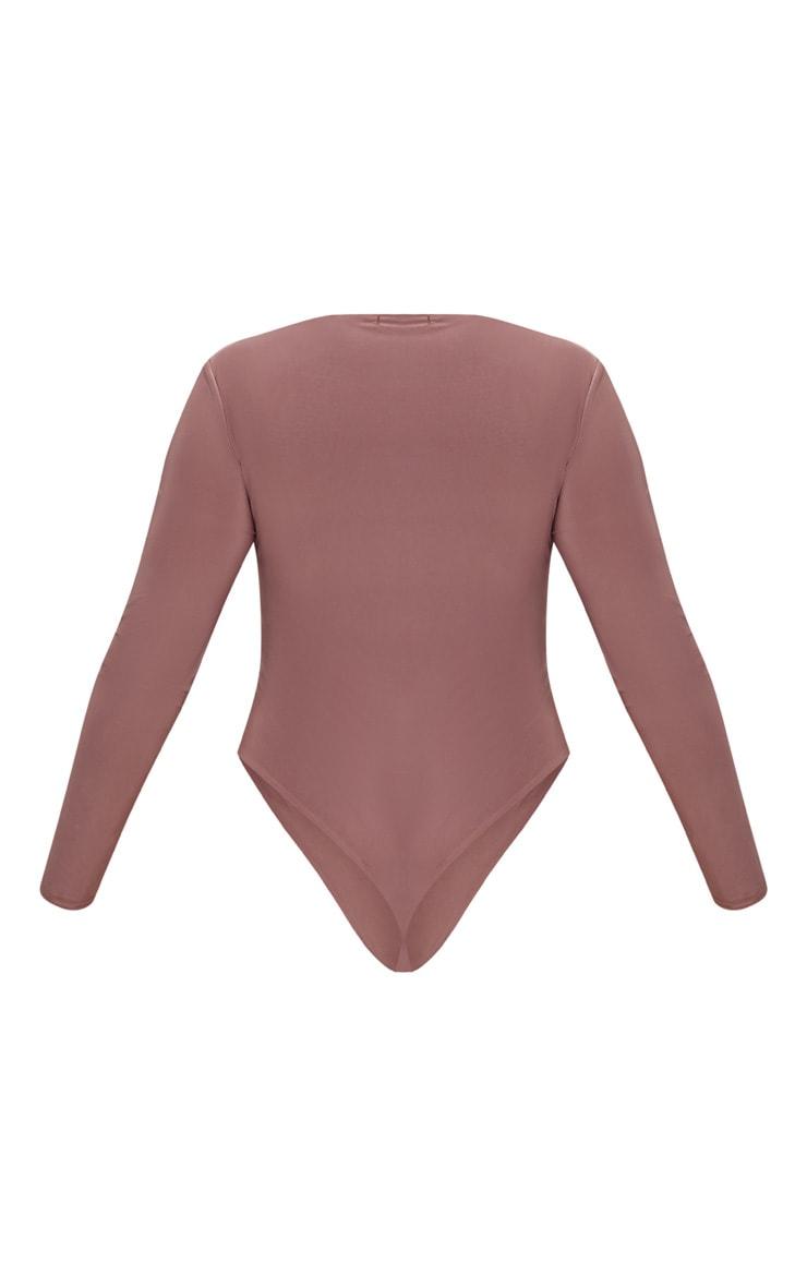Plus Mauve Second Skin Square Neck Thong Bodysuit 4