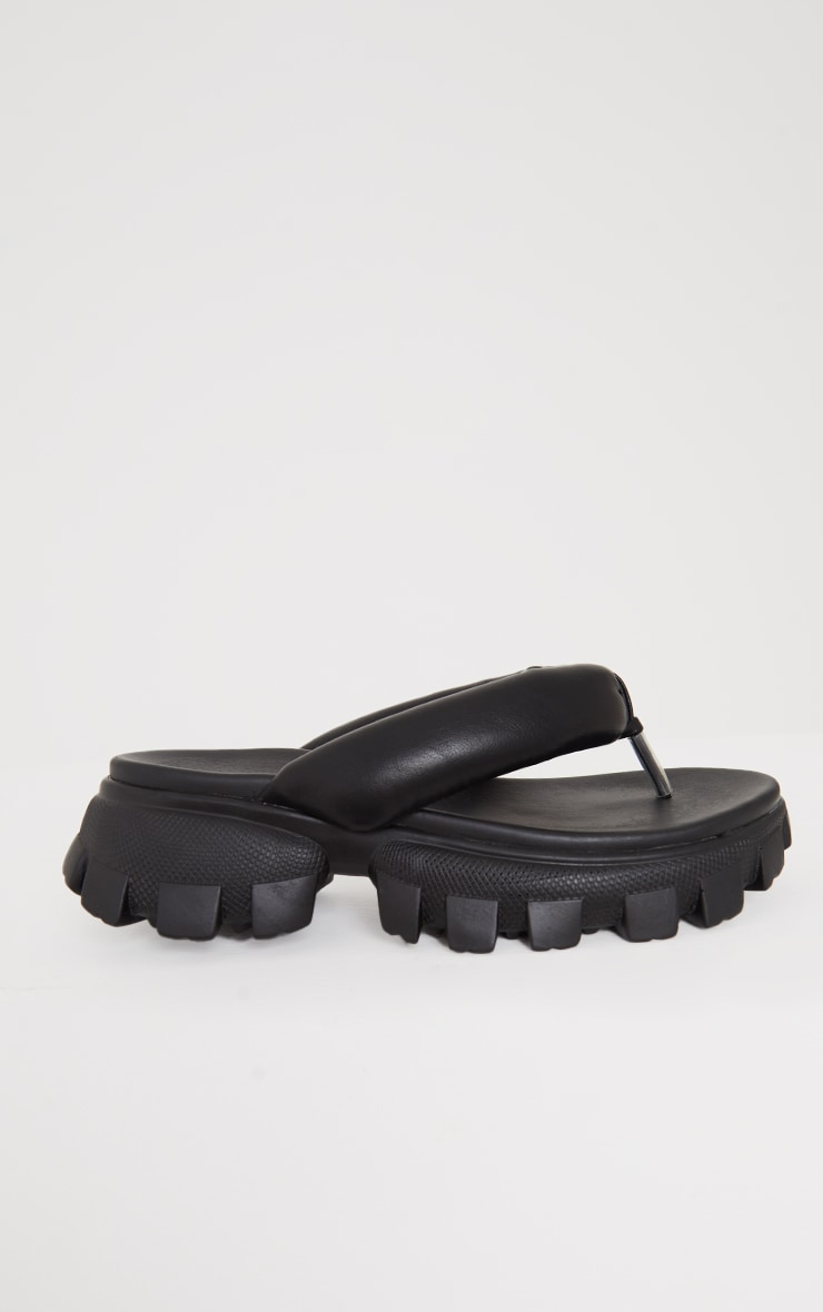 Black Toe Post Cleated Sole Chunky Sandals 4
