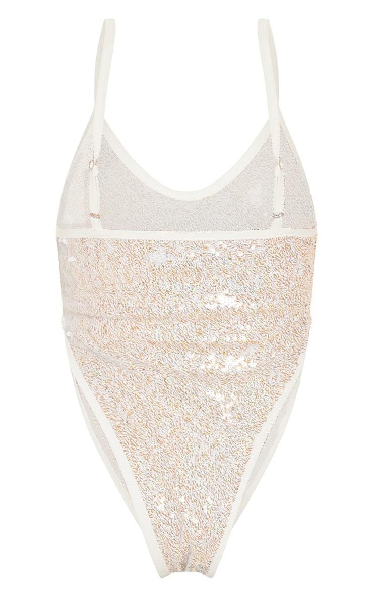 White & Gold Sequin High Leg Swimsuit 4