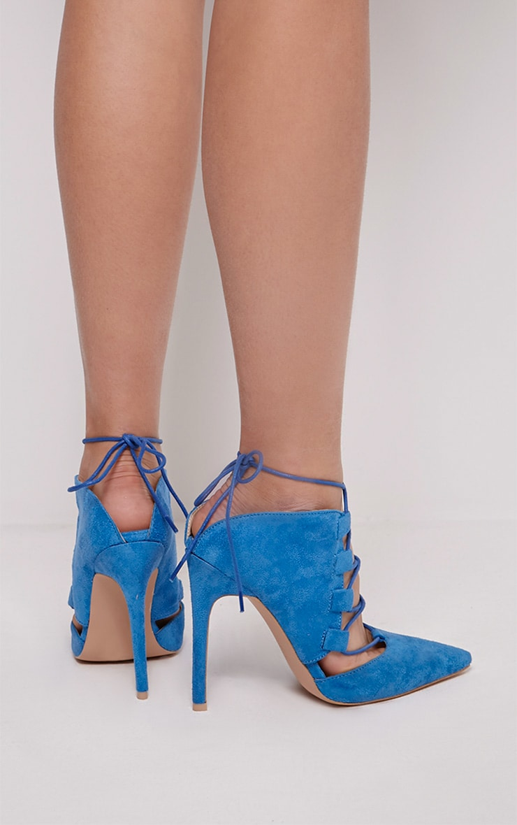 Torro Cobalt Faux Suede Lace Up Heels 2