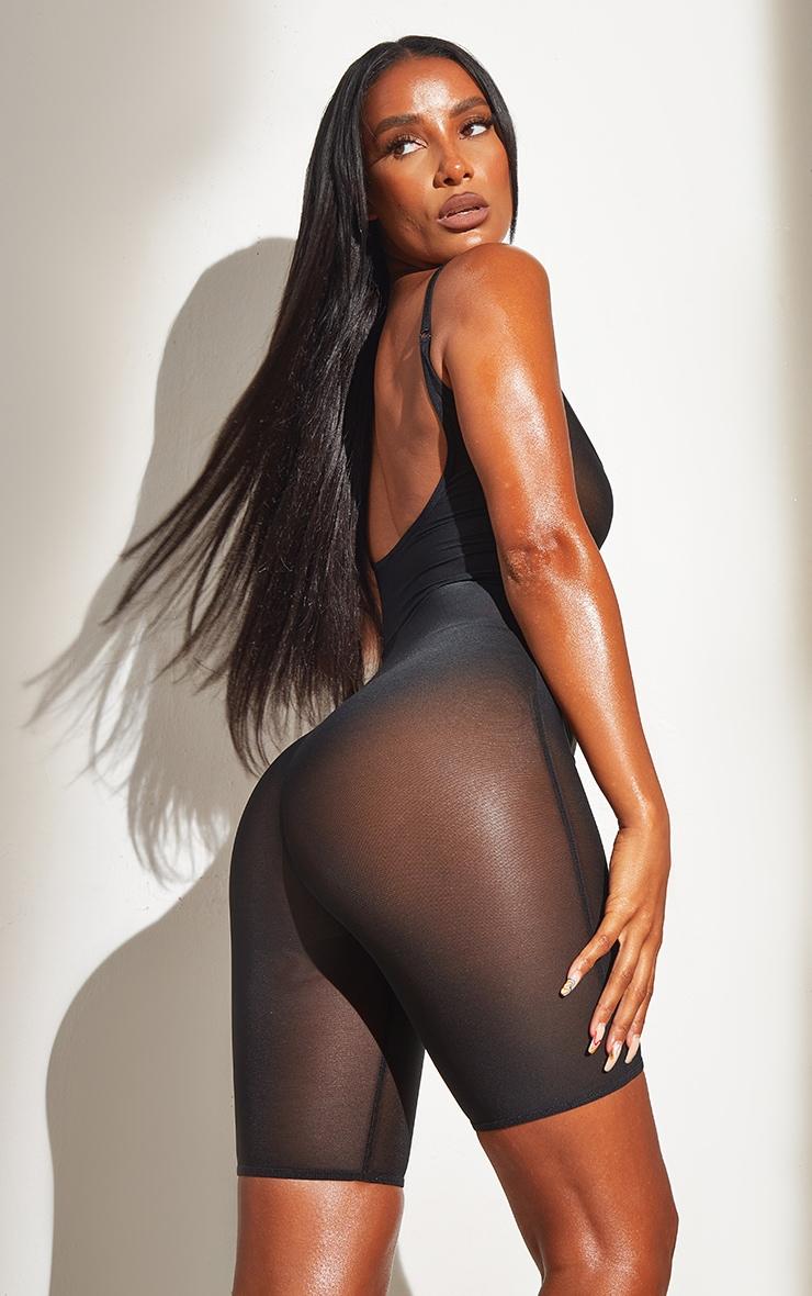Black Shapewear Power Mesh Control Low Back Longline Body 2