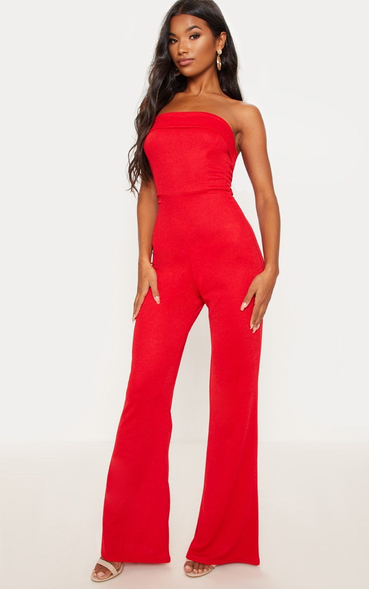 Red Bandeau Fold Detail Jumpsuit 1