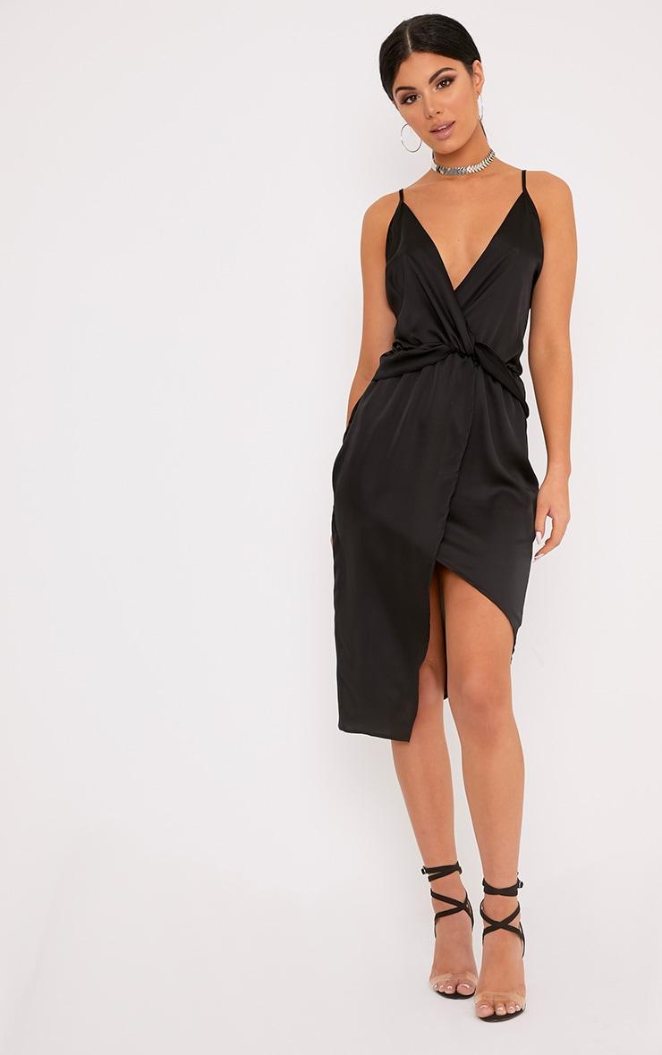 Kala Black Satin Twist Front Midi Dress 4