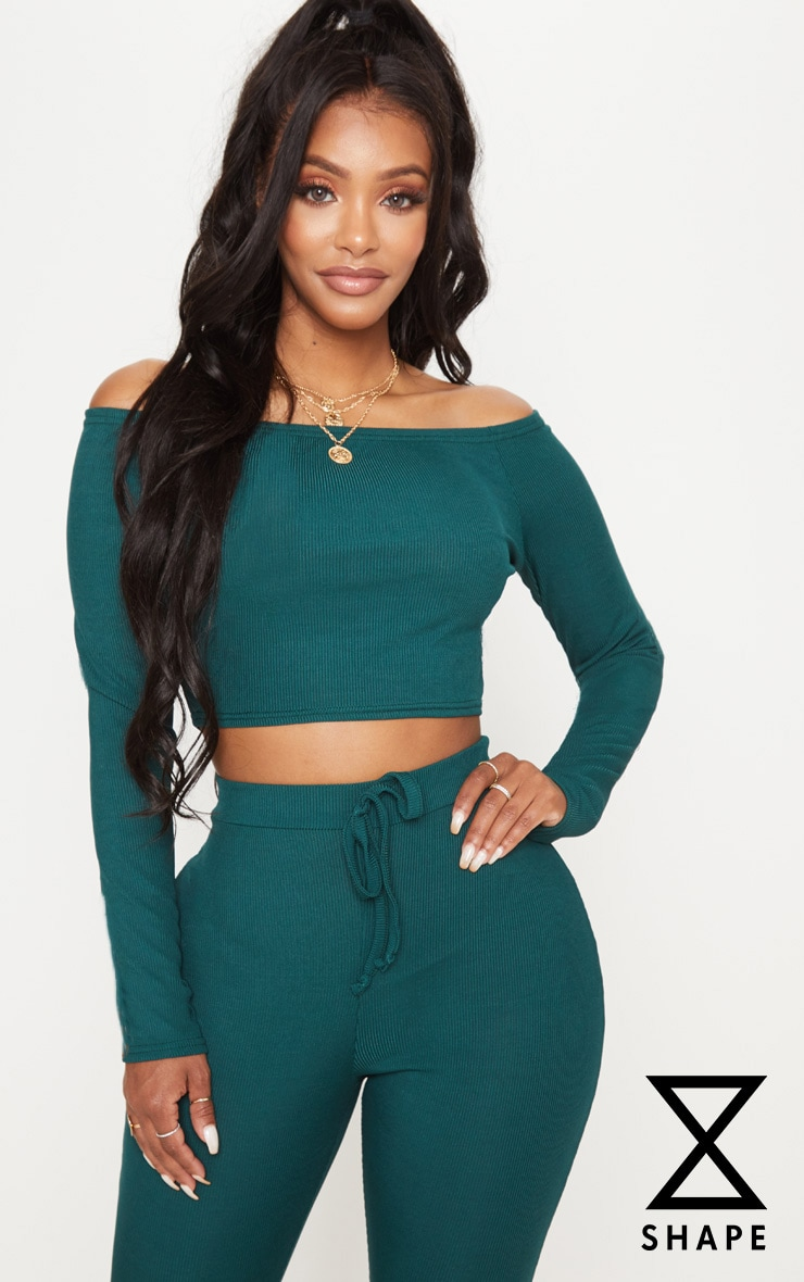 Shape Emerald Green Ribbed Bardot Long Sleeve Crop Top