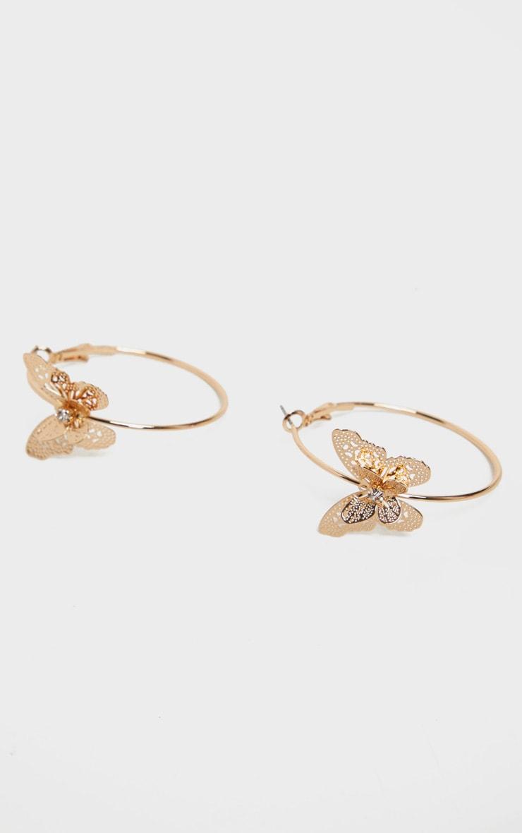 Gold Butterfly Hoop Earrings 2