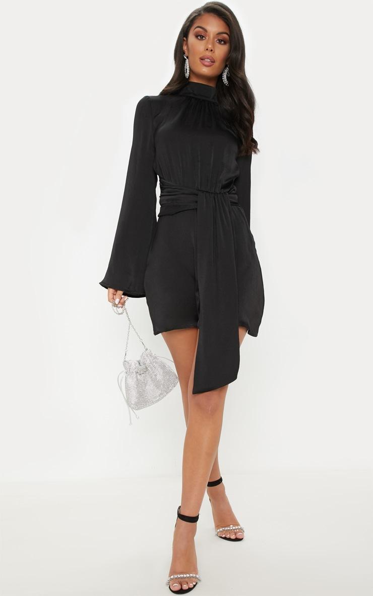 Black Hammered Satin High Neck Drape Bodycon Dress 4