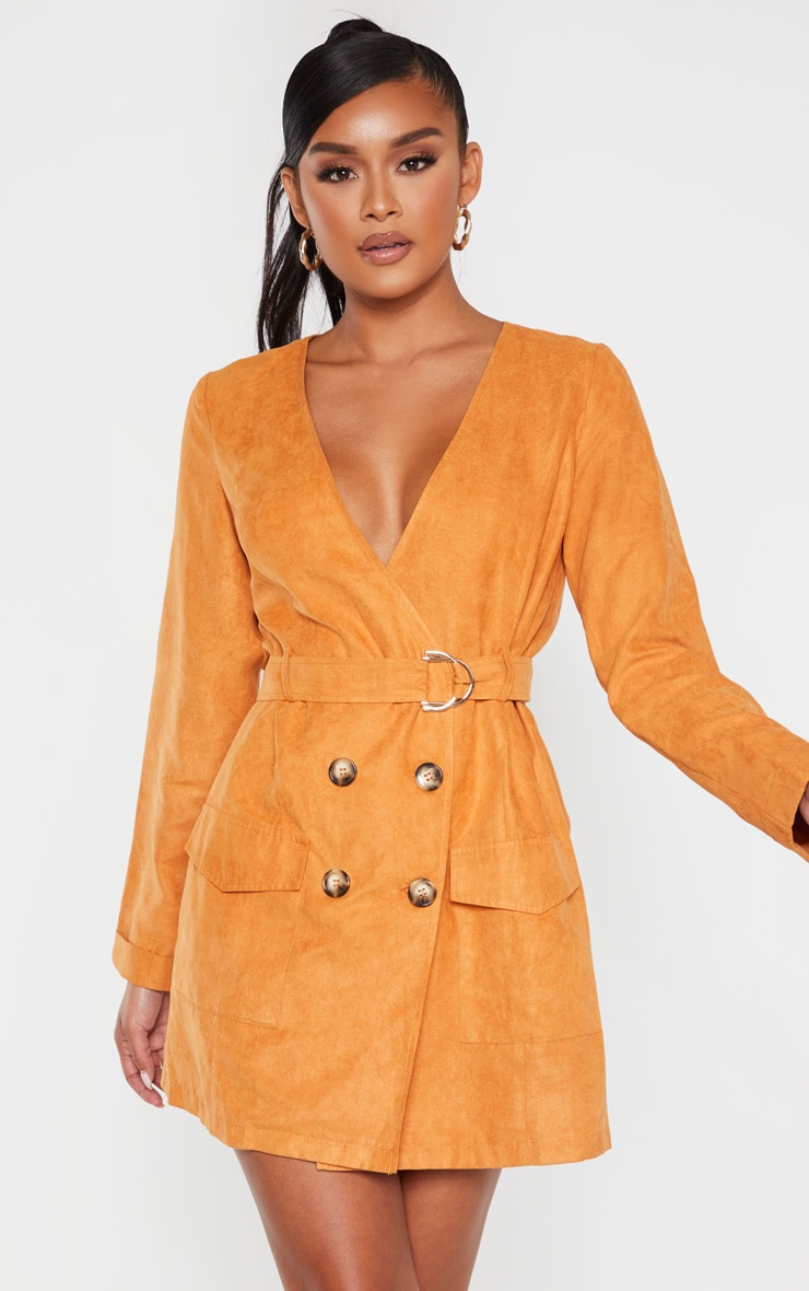 Tan Faux Suede Tortoise Button Buckle Blazer Dress 1
