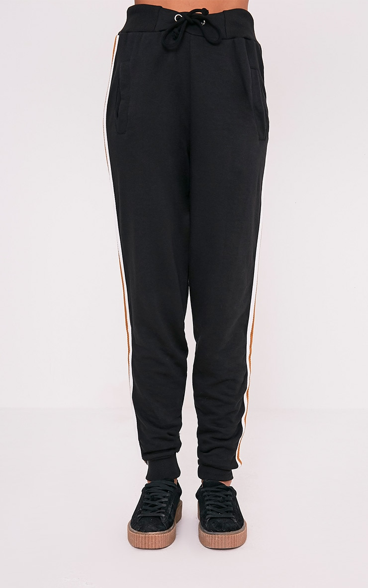 Black Side Stripe Track Pants 2