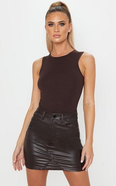 Brown Coated Denim Skirt