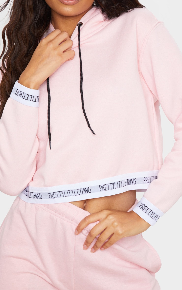 PRETTYLITTLETHING Baby Pink Trim Cropped Hoodie 4