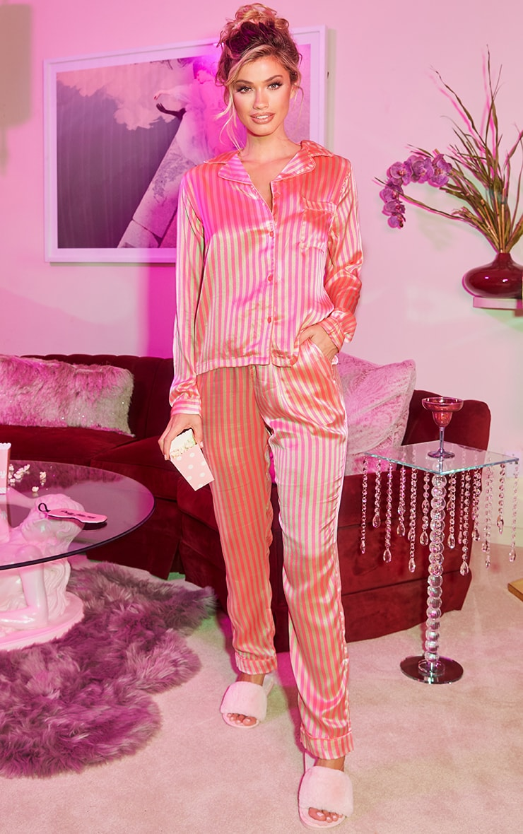 Pink Long Striped Satin Pyjama Set