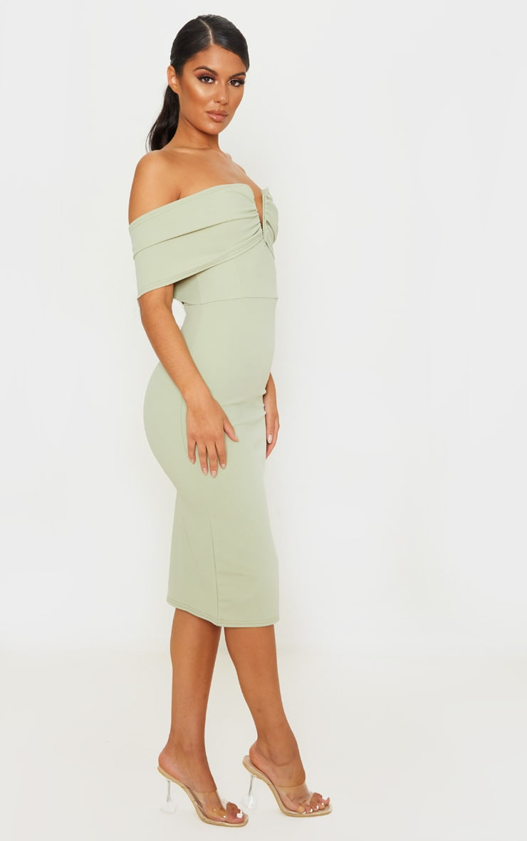 Sage Green V Bar Bardot Midi Dress 4