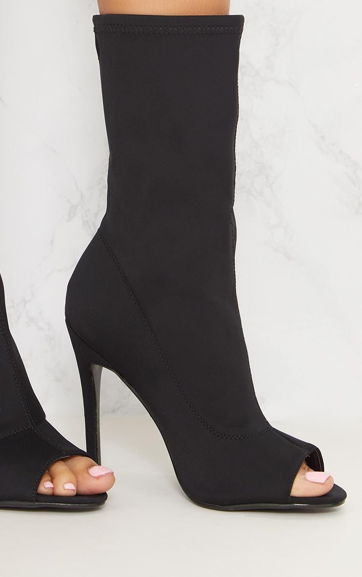 Black Lycra Peeptoe Sock Boot 6