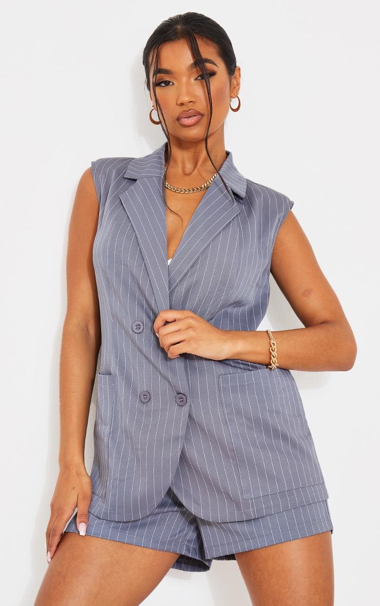 Pinstripe Charcoal Grey Structured Shoulder Pad Sleeveless Blazer 1