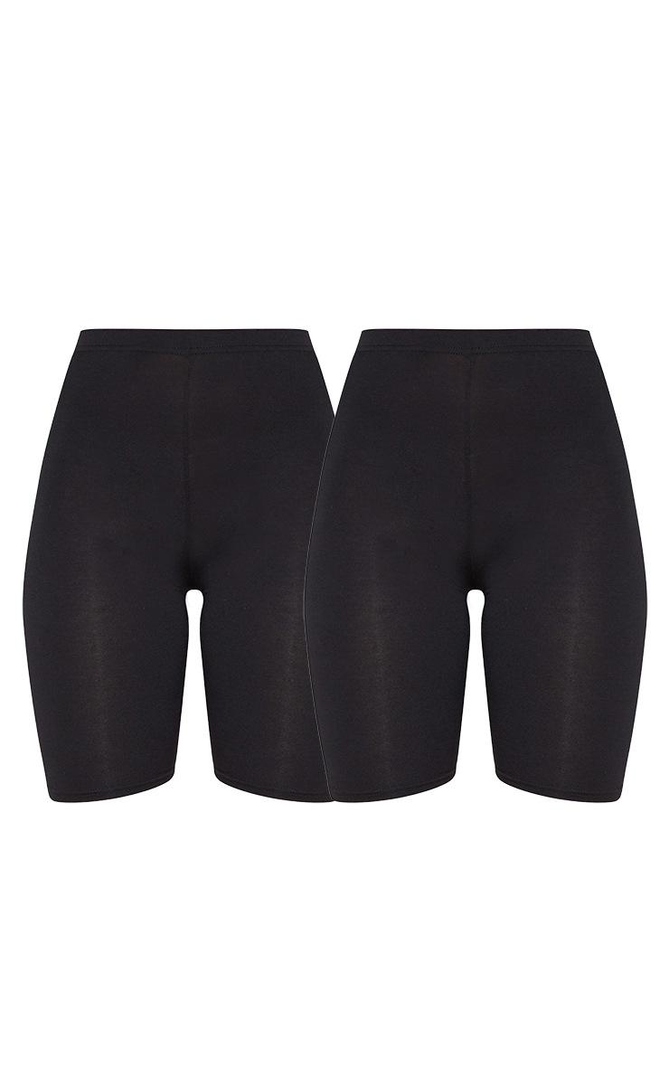 Basic Black Cotton Blend 2 Pack Cycle Shorts 3