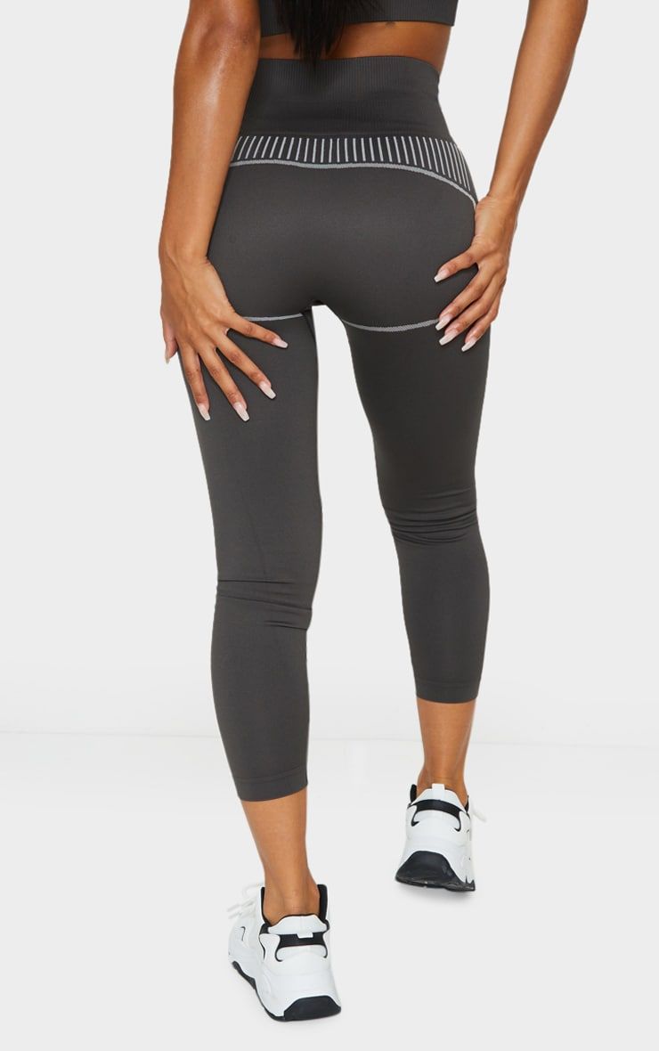 Grey Seamless Detailed Sports Legging 3