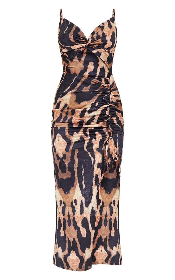 Brown Leopard Print Satin Twist Bust Ruched Maxi Dress 5