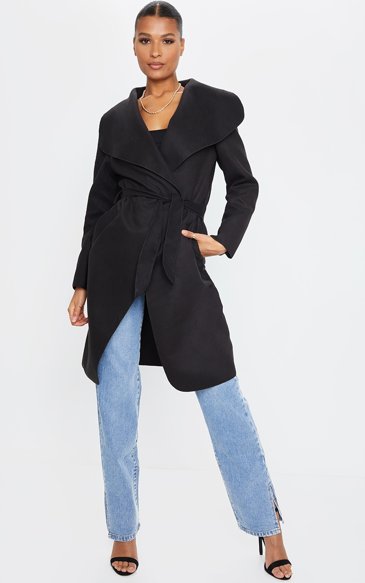 Veronica Black Oversized Waterfall Belt Coat 3