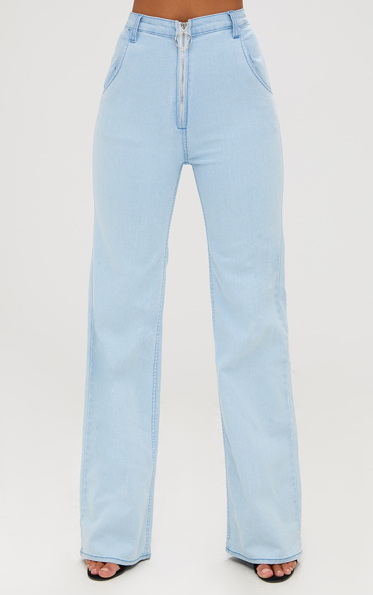 Light Wash Ring Pull Extreme Wide Leg Jeans 3