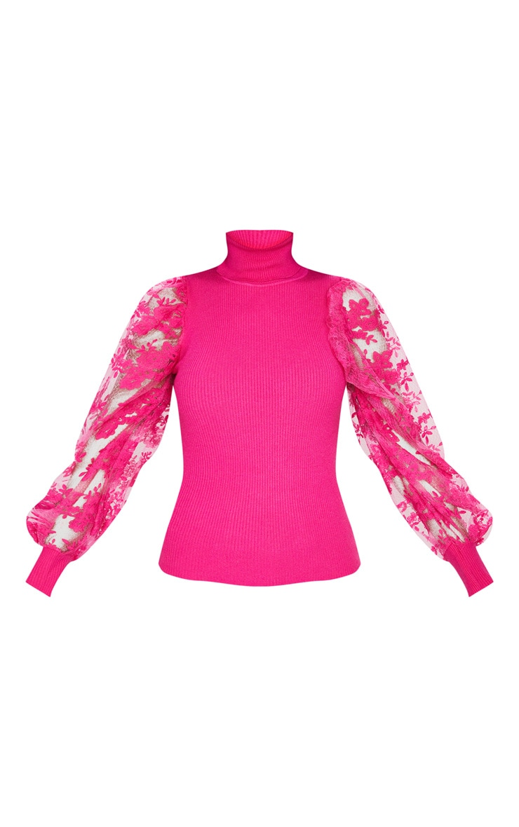 Pink Embroidered Mesh Sleeve Knitted Sweater 6