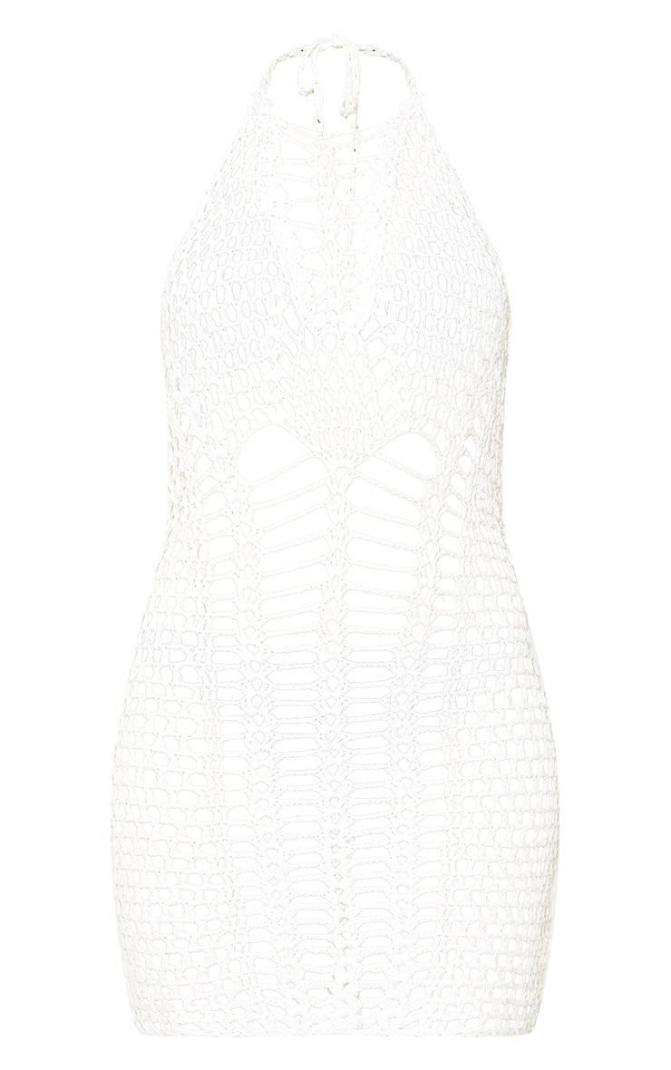 Cream Halterneck Ladder Detail Crochet Mini Dress 3
