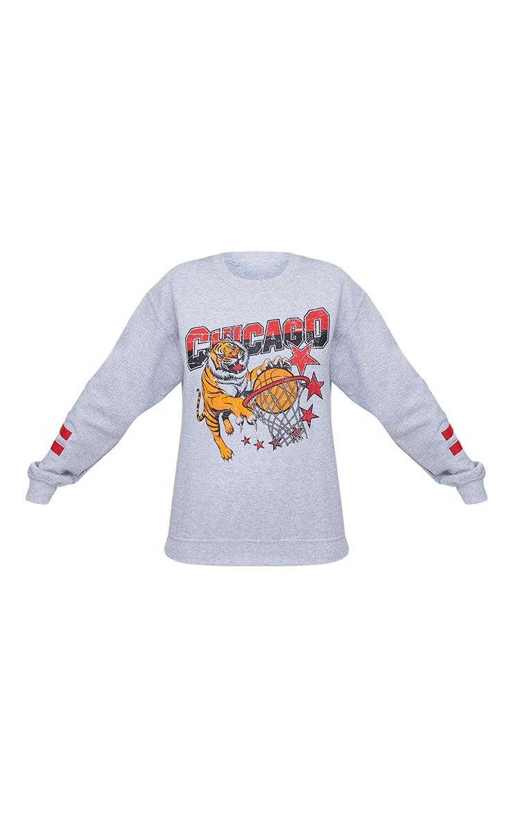 Grey Chicago Slogan Oversized Sweater 3