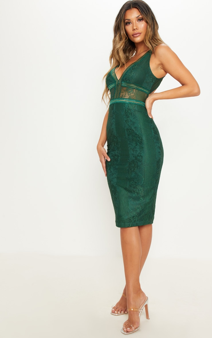Emerald Green Plunge Lace Open Back Midi Dress 4