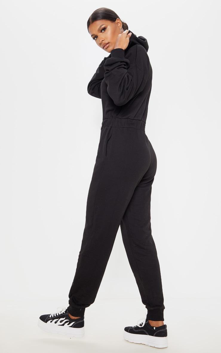 Black Long Sleeve Hooded Sweat Jumpsuit 2