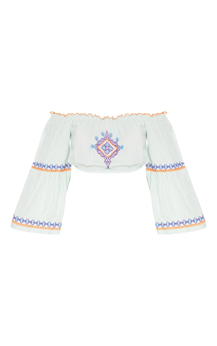 Mint Embroidered Bardot Top 3