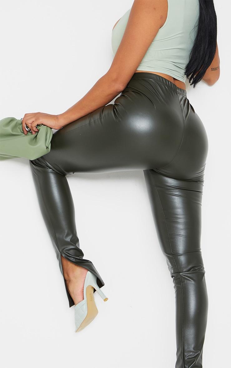 Shape Khaki PU Split Hem Pants 4