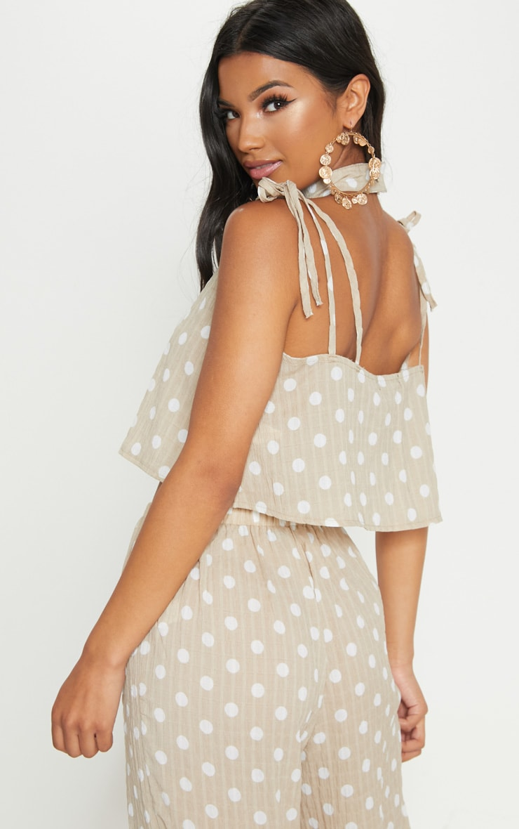 Stone Cheesecloth Polka Dot Crop Top 1