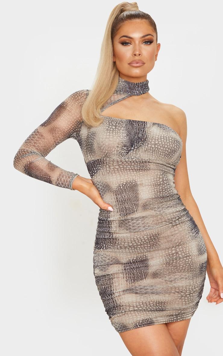 Black Mesh High Neck One Shoulder Bodycon Dress 1