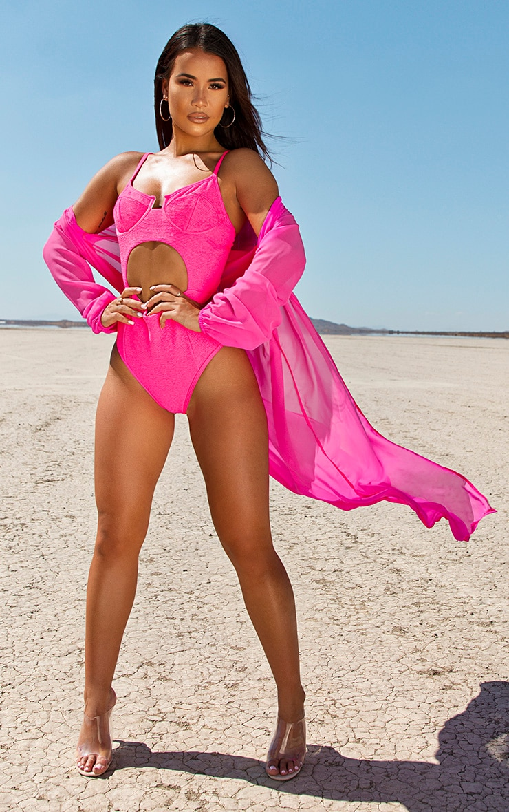 Neon Pink Mini Crinkle Underwired Cut Out Swimsuit 5
