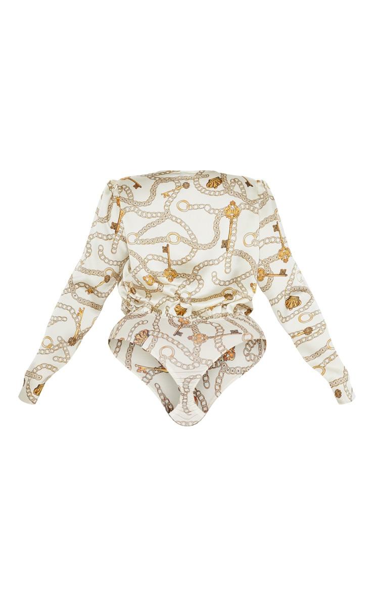 Plus Nude Chiffon Chain Print Drape Bodysuit  4