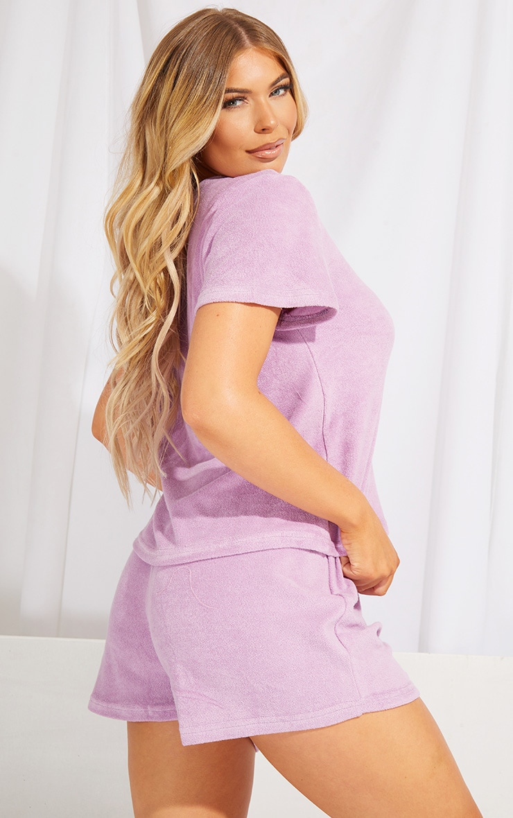 Lilac Towelled Top And Shorts Pj Set 2